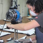 Breena Lane cutting fabric